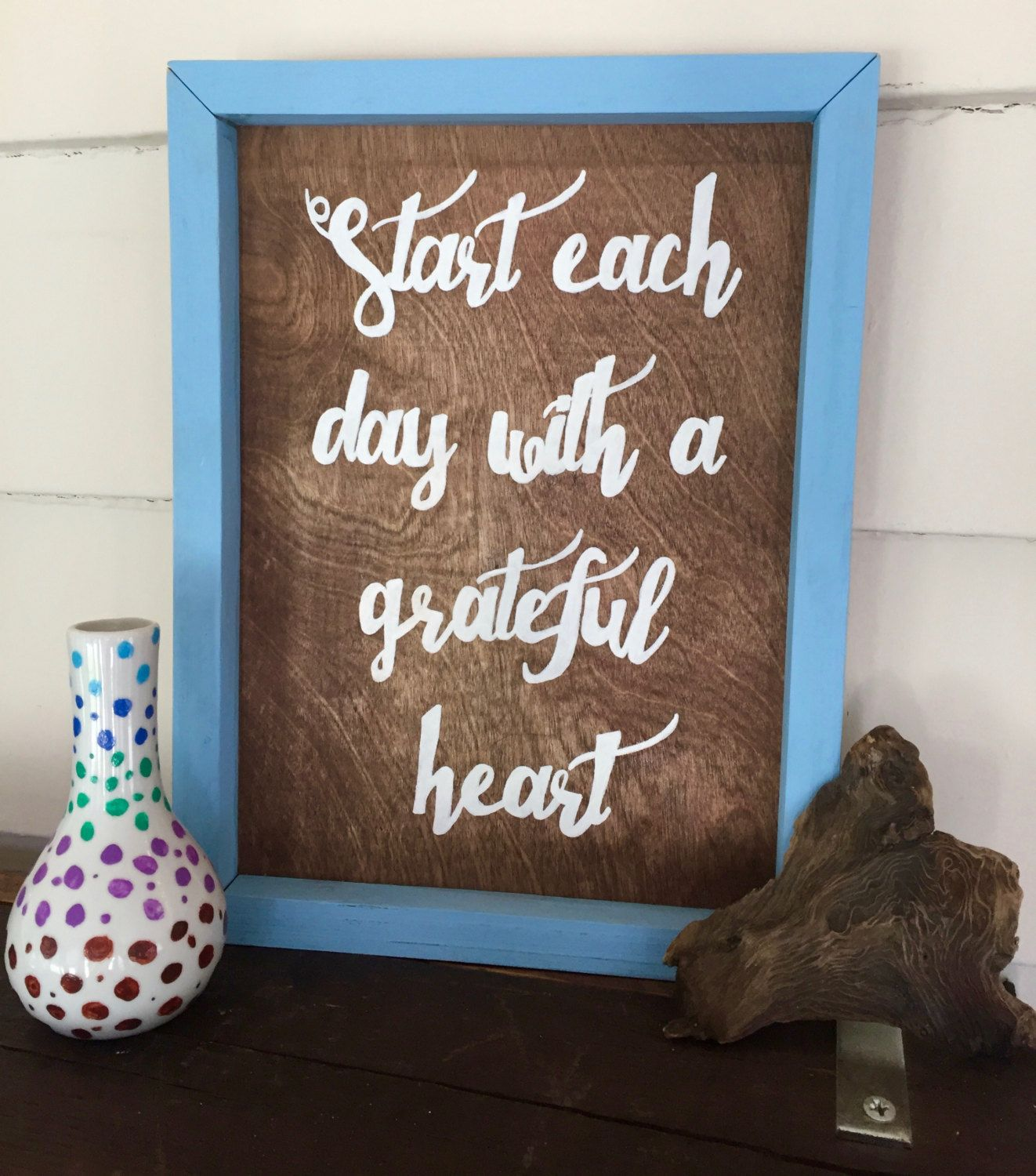 Start Each Day with a Grateful Heart Wooden Sign by MBCreations21 on Etsy