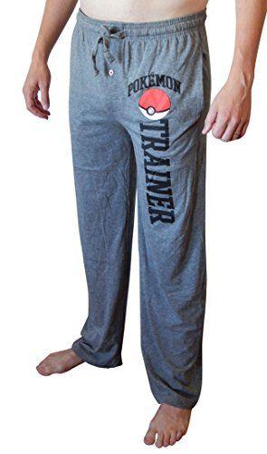 Mens Womens NEW Pokemon Trainer Poke Ball Black Pajama Lounge Pants