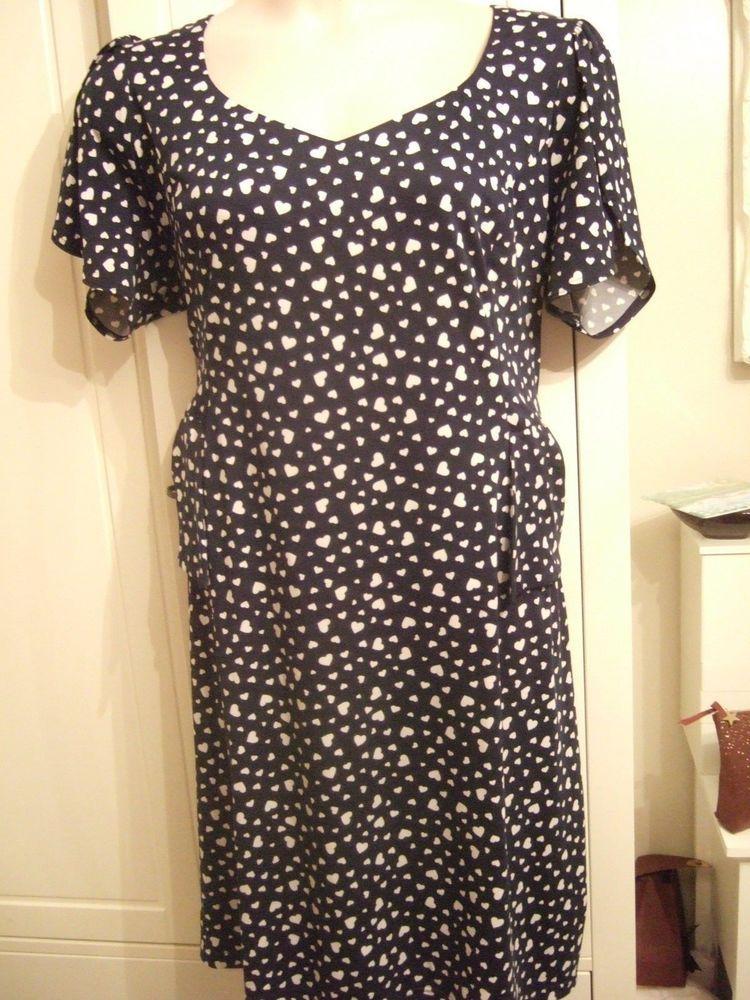 42c3f55711e Navy blue dress with white heart print by Joanna Hope. Size 24  fashion