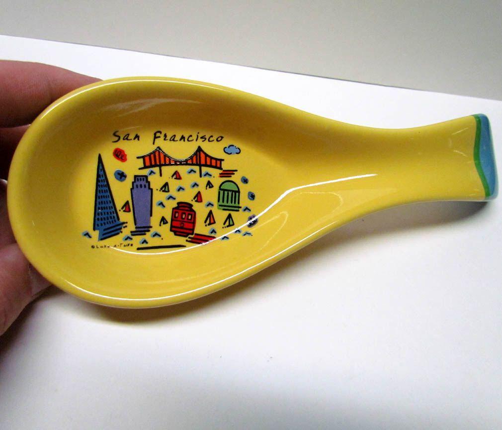 CERAMIC Spoon Rest Holder San Francisco Vintage