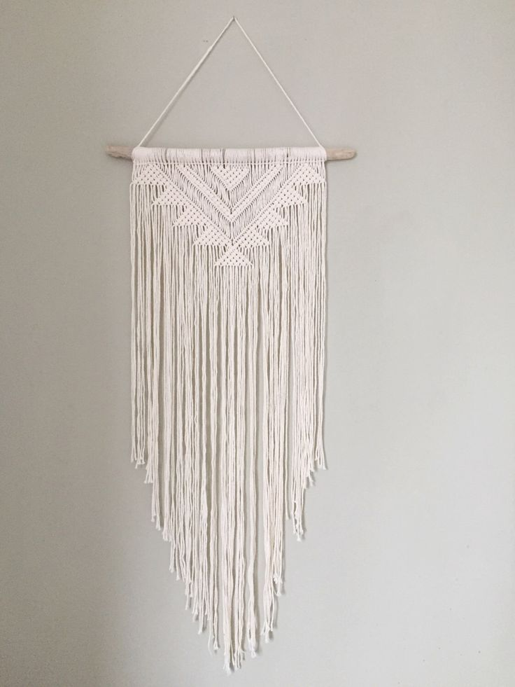 Handmade macrame wall hanging wall decor boho chic wall art aztec bohemian creme cotton organic yarn tapestry weave crochet made to order by bobellaco on