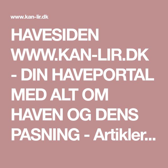 HAVESIDEN WWW.KAN-LIR.DK - DIN HAVEPORTAL MED ALT OM HAVEN OG DENS ...