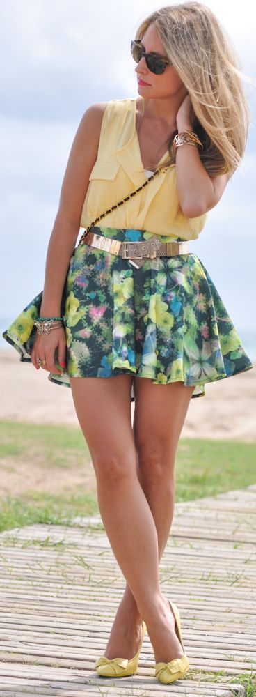Happy Colours: Flowered Skirt In Green&yellow Shades by A Place To Get Lost