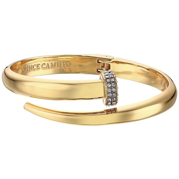 Vince Camuto Flat Nail Head Hinged Cuff Bracelet GoldCrystal