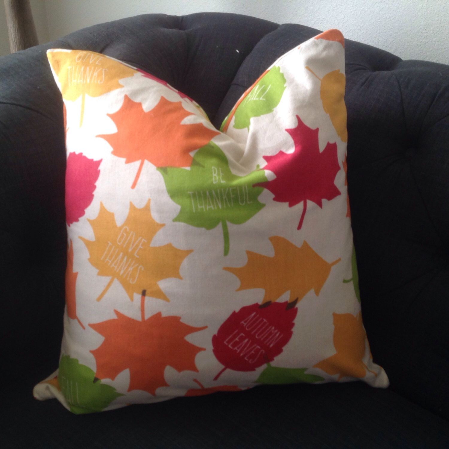 Fall leaf pillow cover with autumn colorswords by