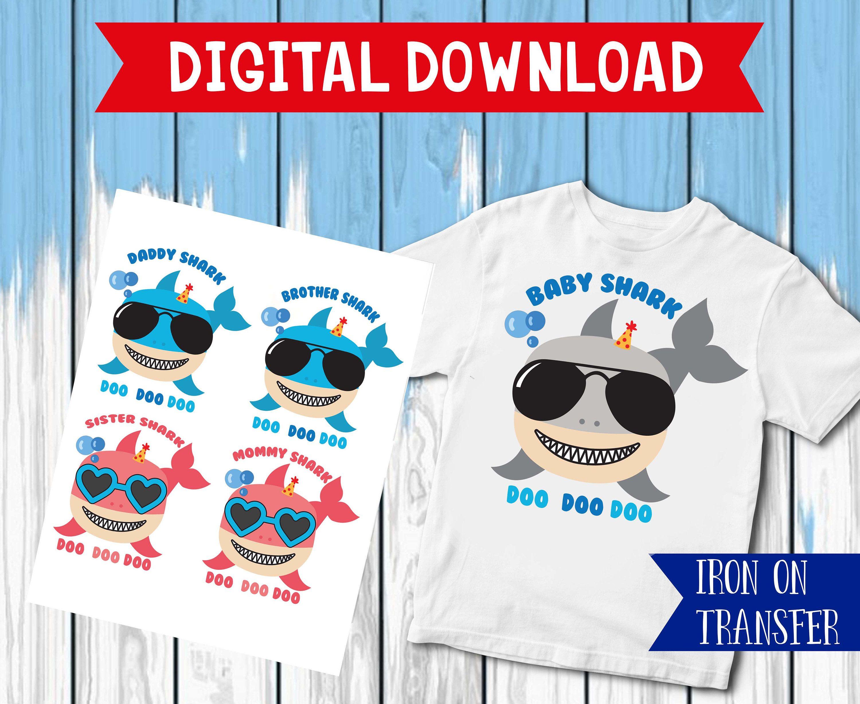 f485c078a Family shark iron on, Shark Birthday Shirt, sister Shark Iron On ...