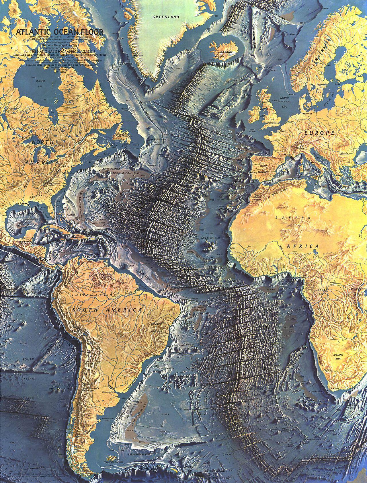 Beautiful Topography Map Of The Atlantic Sea Floor The