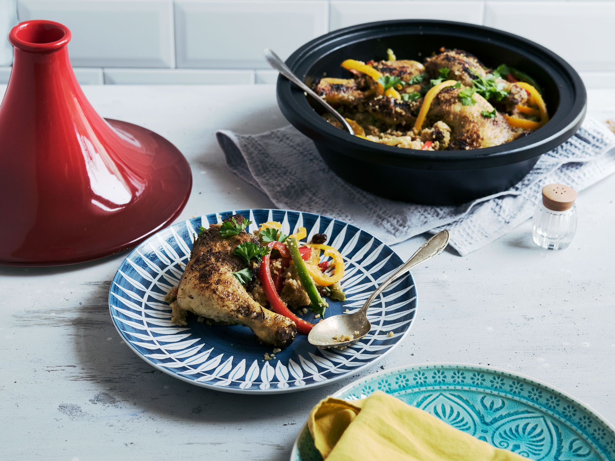 This hearty dish always reminds me of my grandmother. She was the only one I knew who used a tagine. The spices, peppers, and the chicken legs add up to a taste explosion!