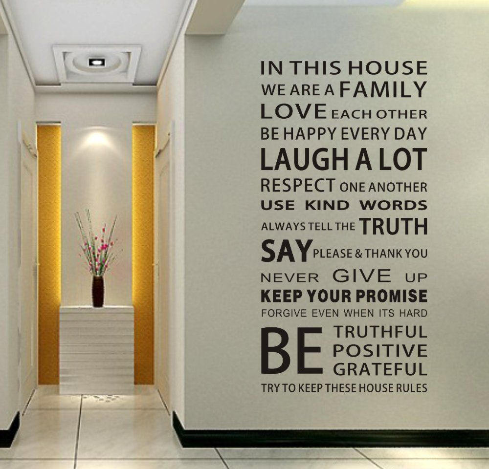 monchiichi provide house rules modren romantic word quote wall decal  sticker wall lettering wall art in high quality, cute art decals for walls  and ...