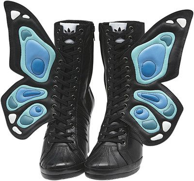 outlet store eab6e 54562 Adidas ObyO Jeremy Scott Wings Wedge Butterfly Black Women Leather Boots  Shoes   eBay