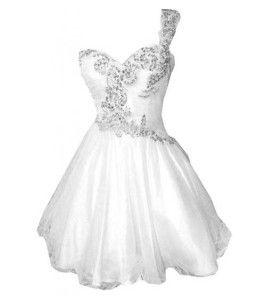 Lace sequin white puffy one shoulder plus size prom junior senior ...