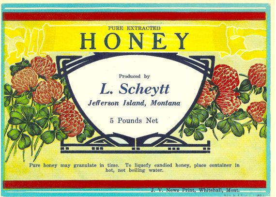 Vintage Original L. Scheytt Honey Label Jefferson Island, Montana. Dates to the 1940s. Great item to frame. Great Craft item, Decoupage...