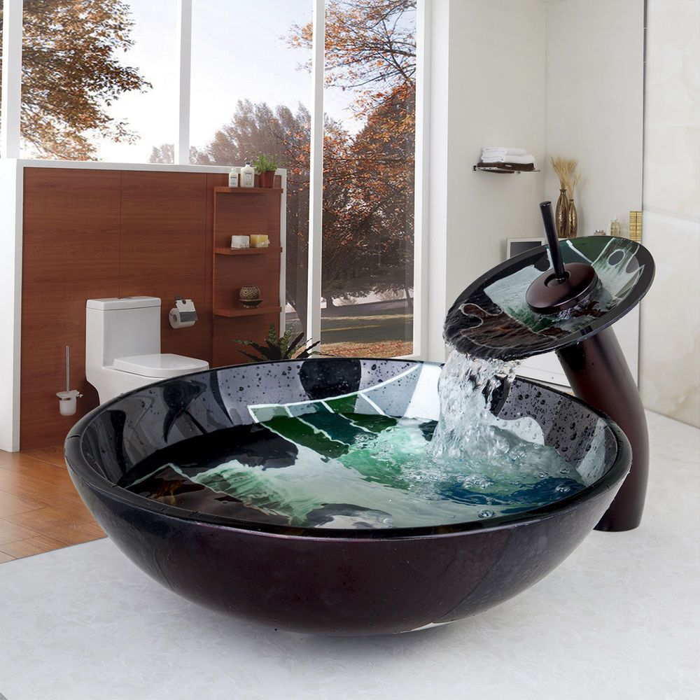 Tempered Glass Bathroom Vessel Sink Bowl Waterfall Faucet Combo