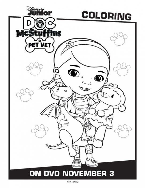 Doc And All Her Stuffed Animals Are Ready To Welcome Their New Pal Findo Aboard McStuffins Pet Vet Coloring Pages