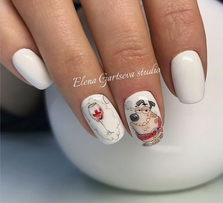 Winter New Year Christmas Dog Manicure Nail Art Design Nails