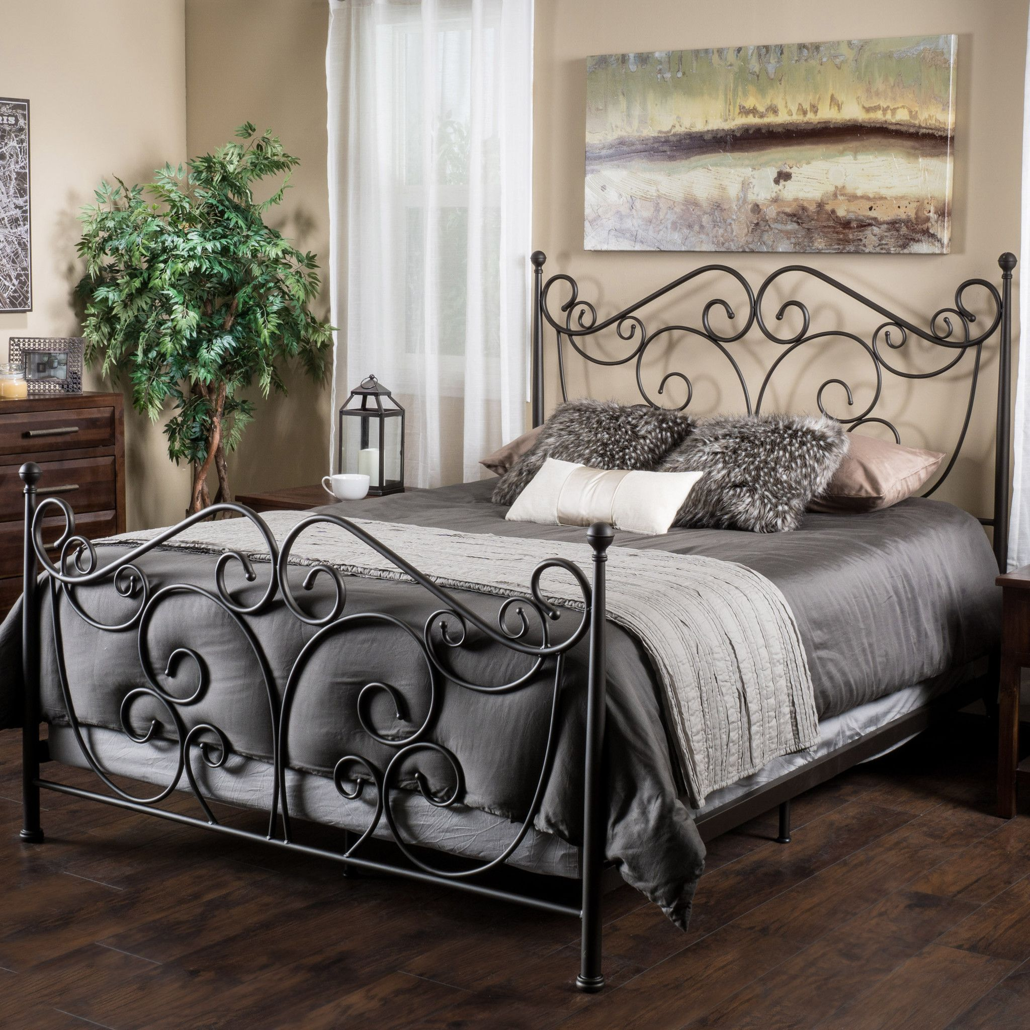 Whimsical Beds Haven King Size Scroll Design Iron Bed In Dark Bronze  Bed Frames