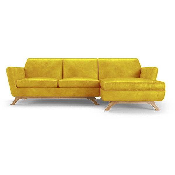Joybird Furniture Hyland Mid Century Modern Yellow Leather Sectional 8 039 Liked Leather Sectional Sofas Mid Century Modern Leather Sofa Joybird Furniture