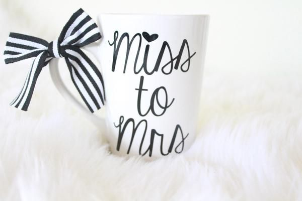 Our Miss to Mrs 16oz Coffee mug comes in white with Black print. Perfect Engagement gift to celebrate waking up every morning with a cup of Joe planning the r