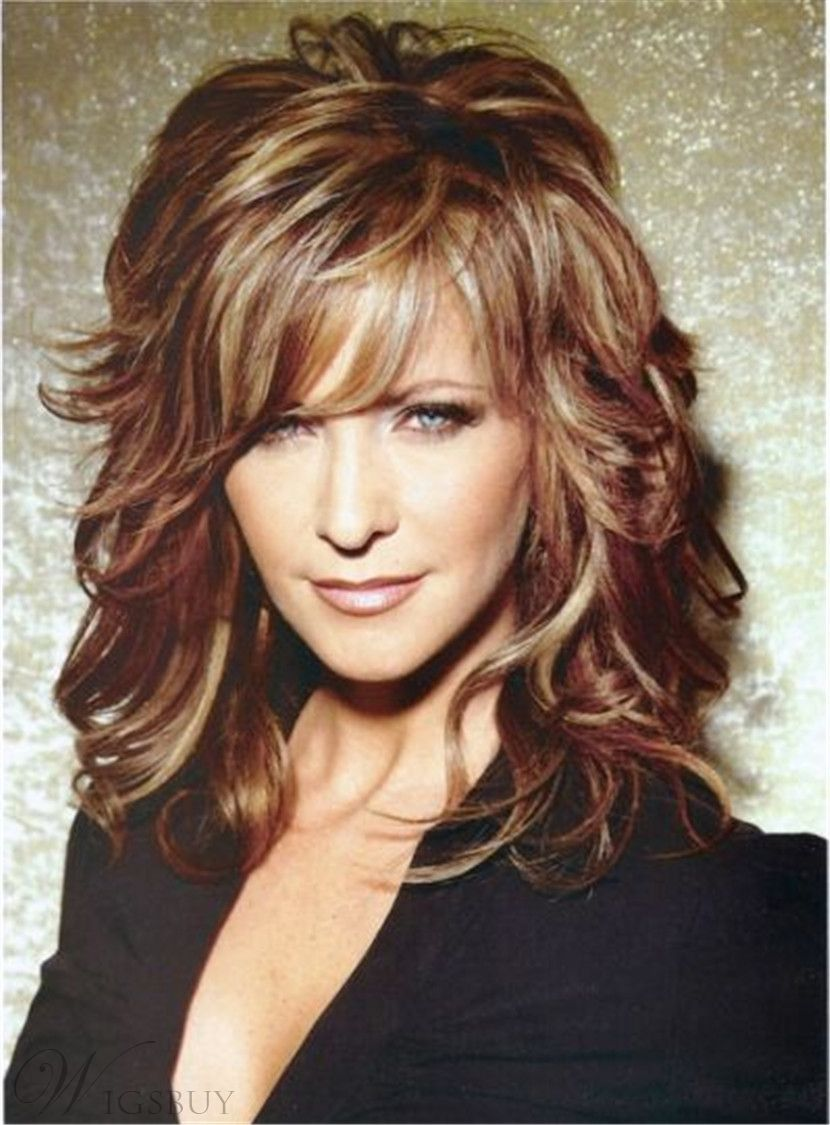 Long layered wavy mixed red synthetic hair capless wigs inches in