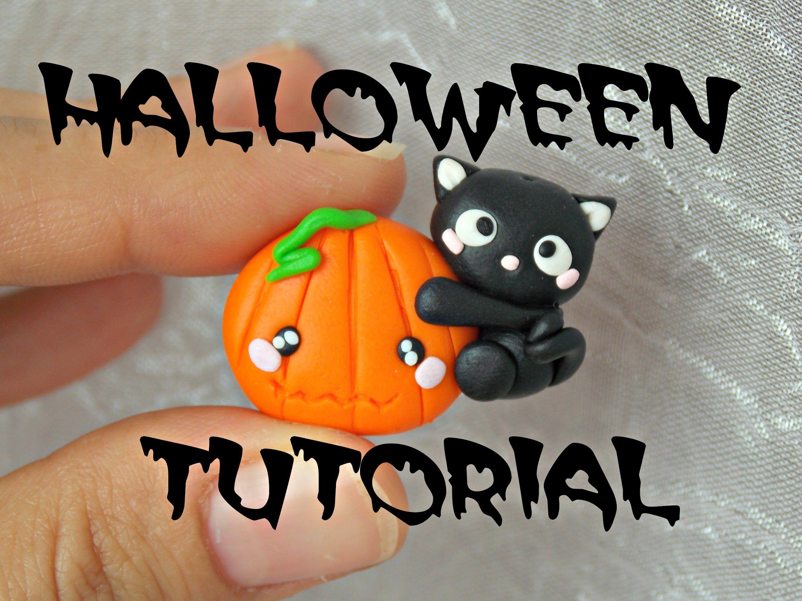 ✿ cat on pumpkin ✿ halloween polymer clay tutorial ✿   polymer