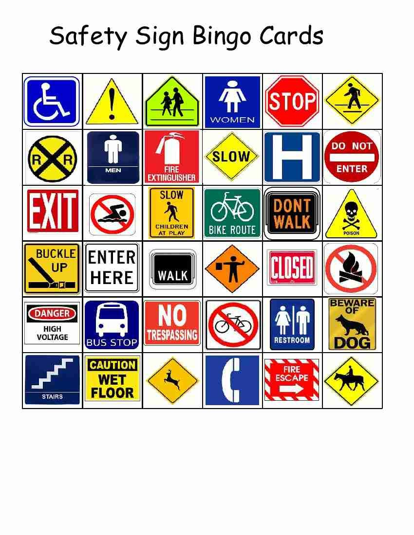 worksheet Safety Signs Worksheets empowered by them safety sign bingo schoolot pinterest bingo
