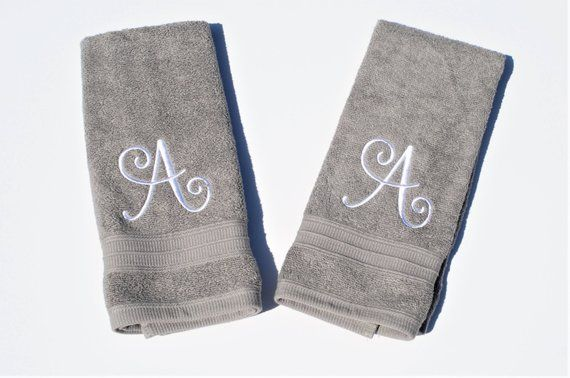 Monogram Hand Towel Set Single Letter Monogram Hand Towel Set
