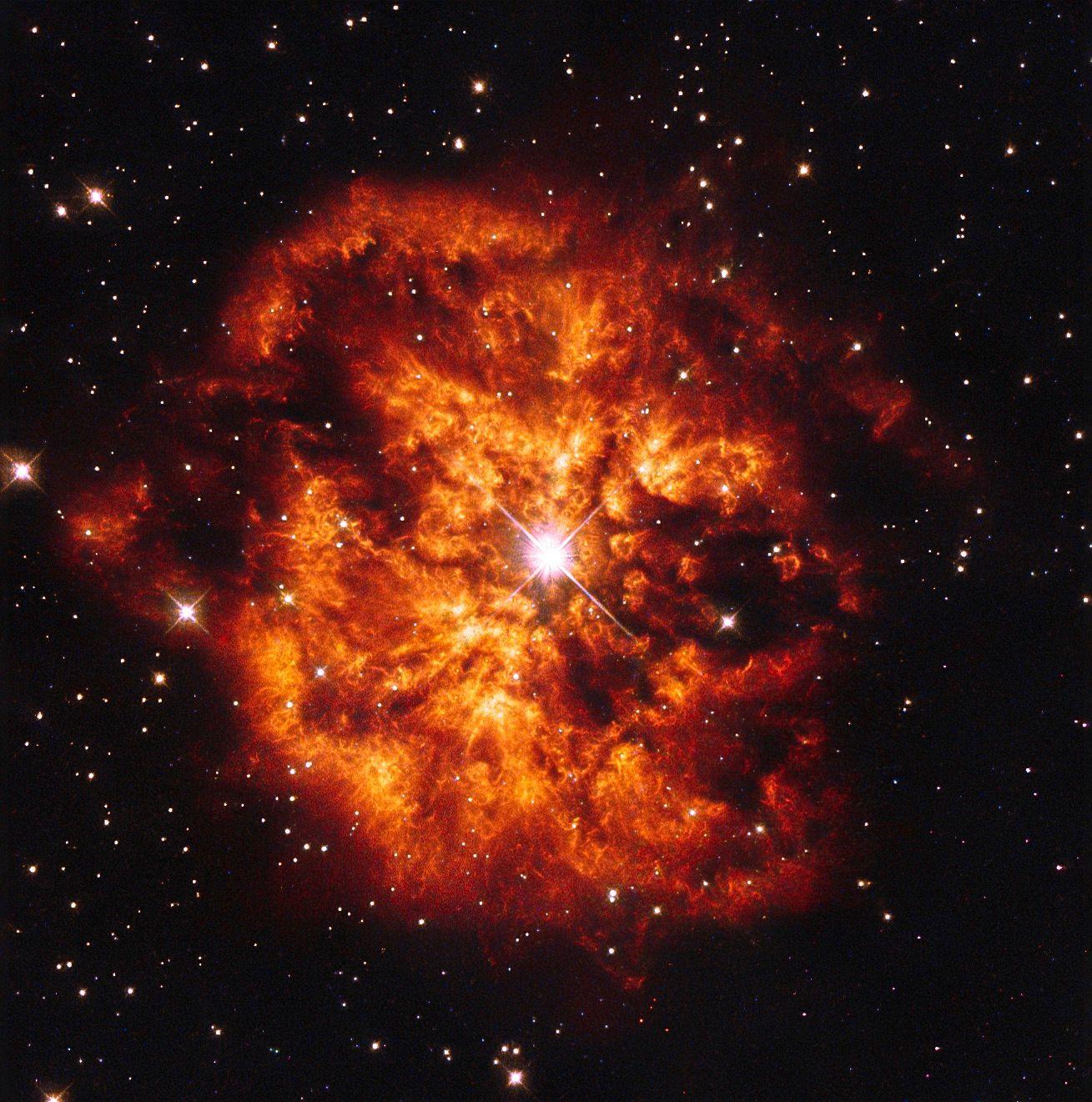 Hubble's fireball NASA/ESA Hubble Space Telescope e the central Wolf-Rayet star…