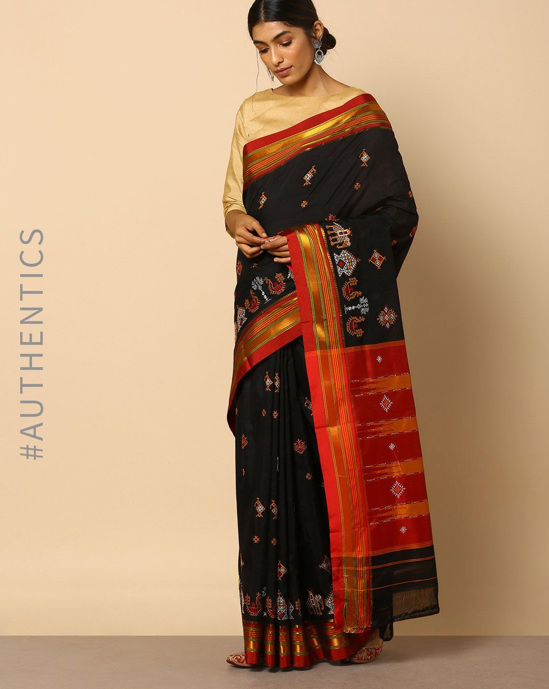 0b2ef92dc1e591 Buy Indie Picks Kasuti Embroidered Ilkal Saree online in India at best  price.Highlighted by gorgeous embroidery with art silk in the pallu and  border, ...