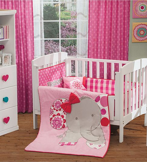Love This New Girl Pink Baby Elephant Crib Bedding Nursery Set 6