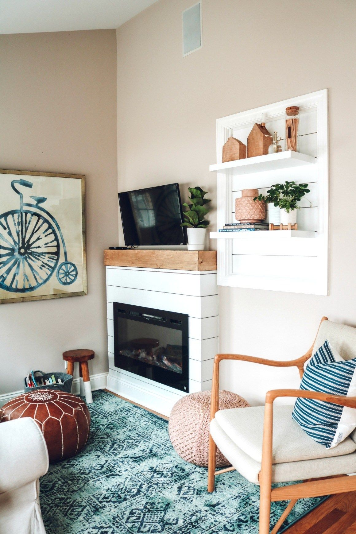 Mini Sunroom Makeover with Electric Fireplace Home