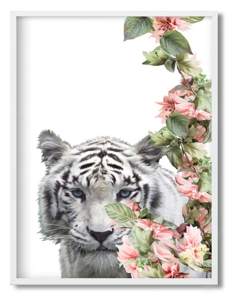 Wall Art Floral White Tiger Framed Unframed Art Print A 667