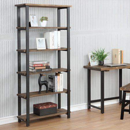 Pomona 70H 5-Shelf Metal and Solid Wood Bookcase  - Shelf Bookcase - Ideas of Shelf Bookcase #ShelfBookcase