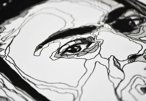 Contour Line Drawing Eye : Frida kahlo. by bryan gallardo via behance great example of