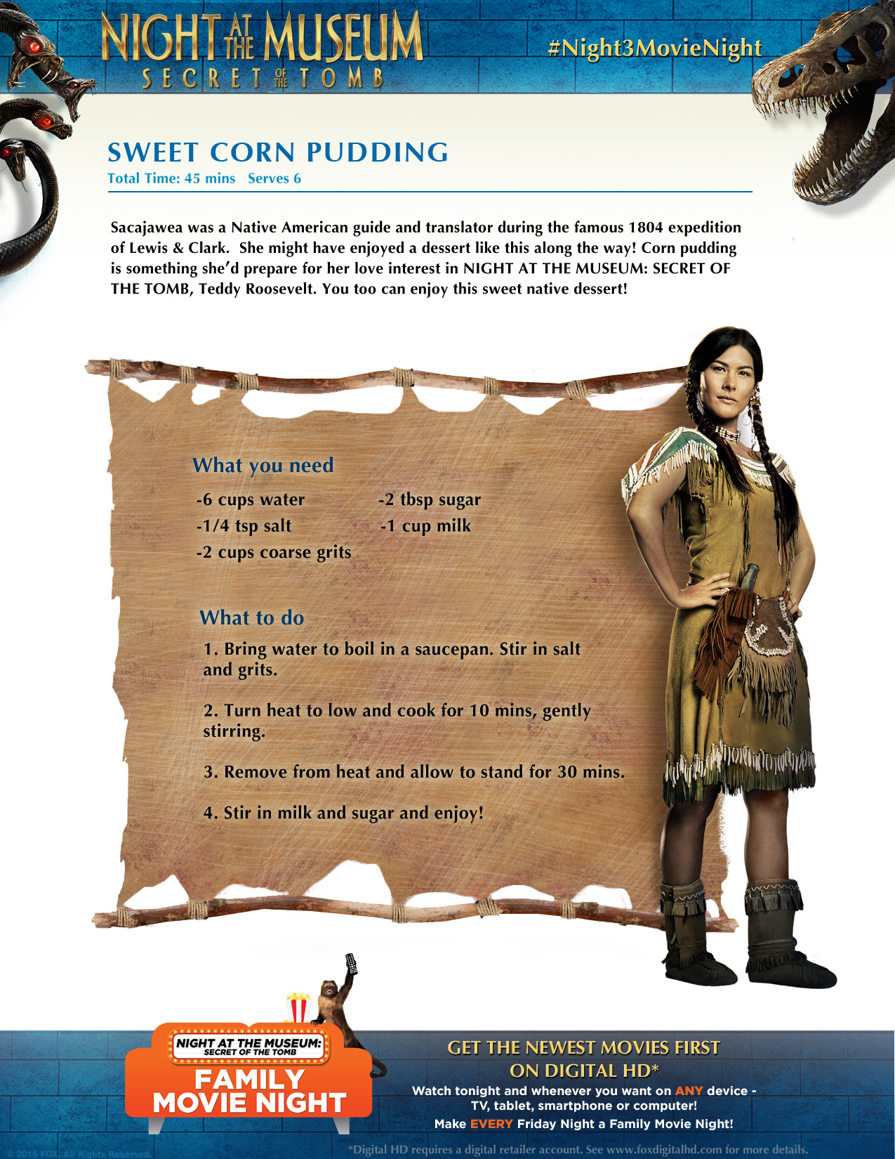 Sacajawea From Night At The Museum Secret Of The Tomb Knows A Gerat Recipe For Sweet Cor