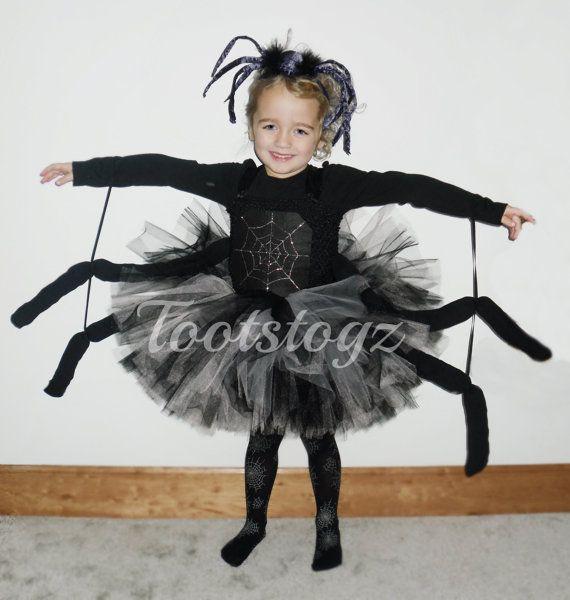 Halloween Black Widow Black And Silver Girls Spider Tutu Dress En - Disfraz-de-araa-casero