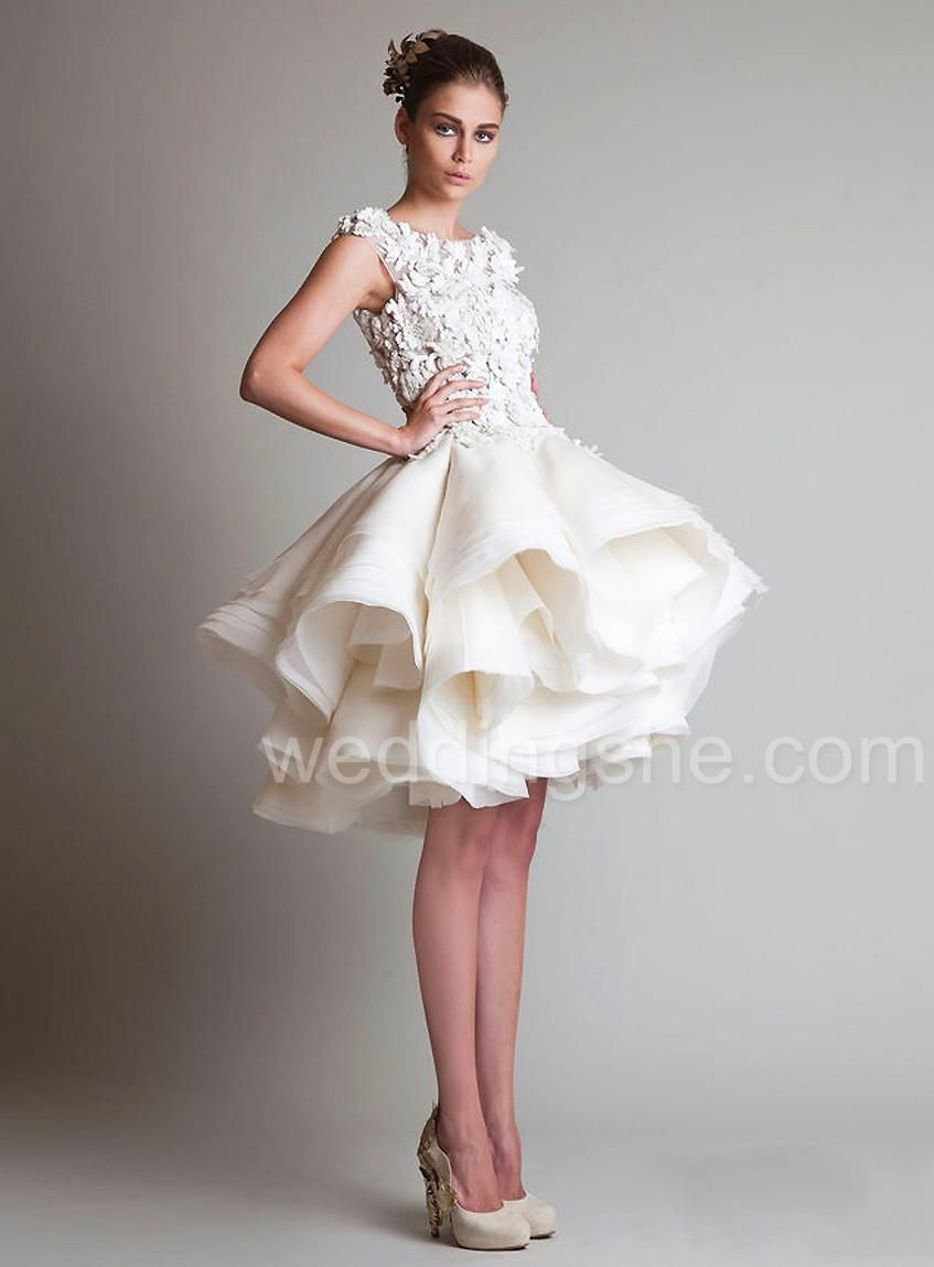 Elegant short wedding dresses  Elegant ALine Natural Waist kneelength Lace Short Wedding Dress on