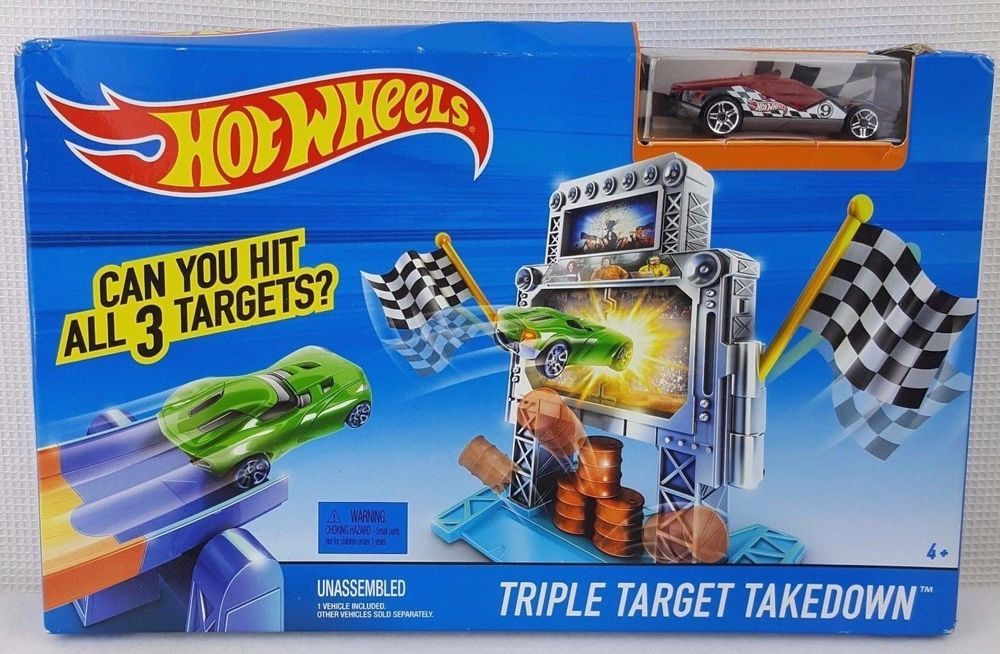 Hot Wheels Triple Target Takedown Red Black Car Ages 4 And Up Toy Racecar New Hotwheels Hot Wheels Black Car Hot Wheels Races