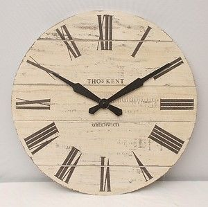20 Extra Large Wooden Wall Clock Thomas Kent Shabby Chic Wallclock 50cm White