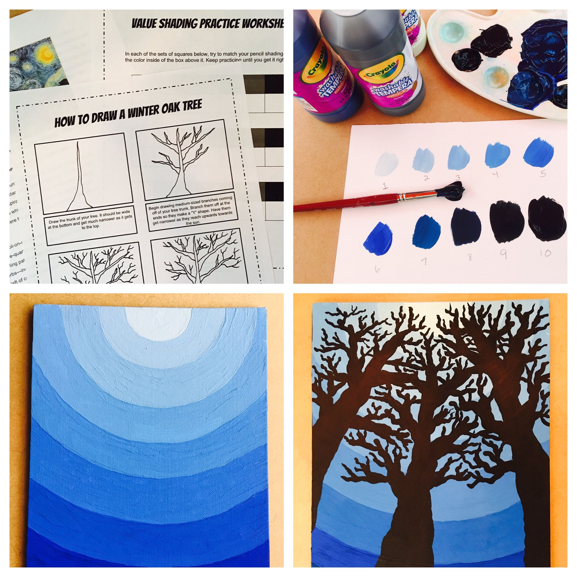 Tint And Shade Night Sky Lesson