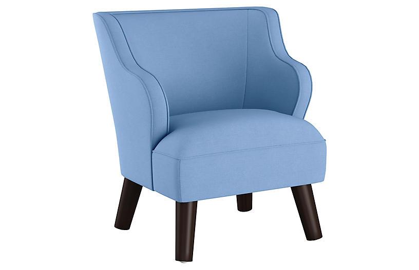 Best Kira Kids Accent Chair Blue Linen Accent Chairs 400 x 300