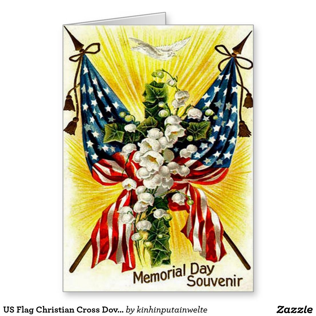 US Flag Christian Cross Dove Lily Of The Valley Greeting Card