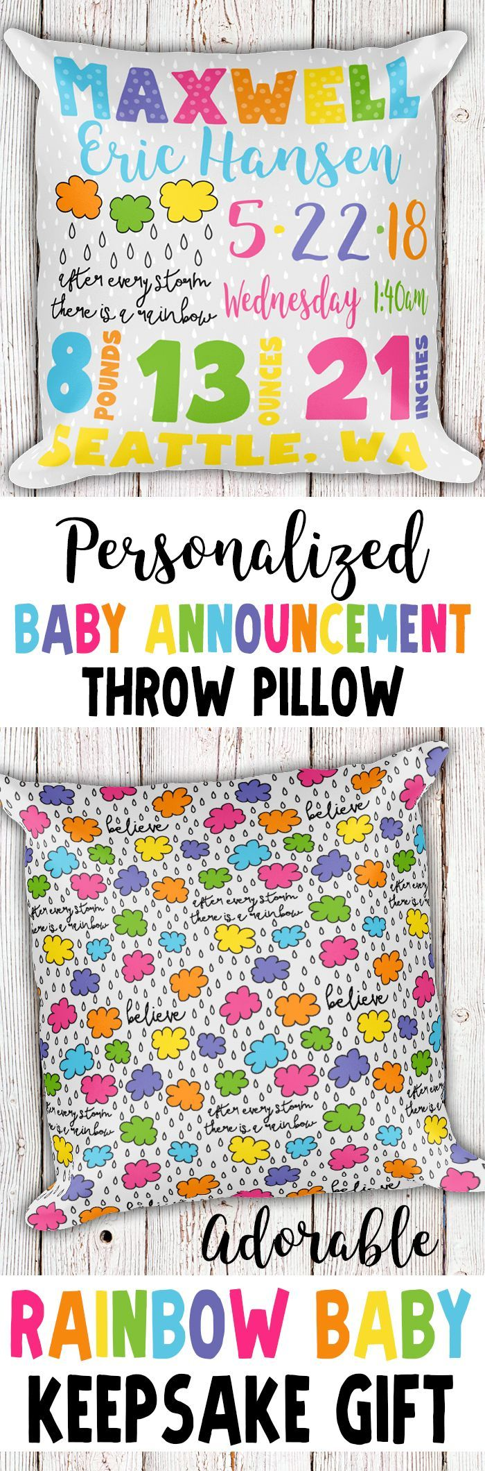 Personalized Birth Announcement Pillow, Personalized Baby Announcement Pillow, Birth Stats Pillow, Personalized Rainbow Baby Gift