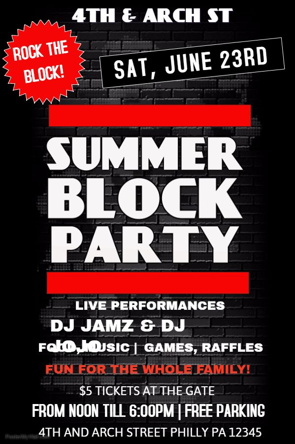 summer posters summer block party click on the image to customize