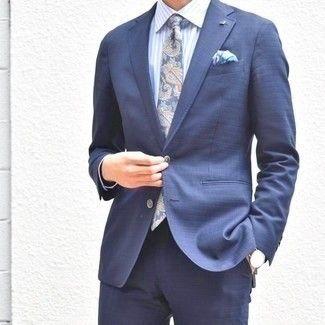 Comment porter: costume bleu marine, chemise de ville à