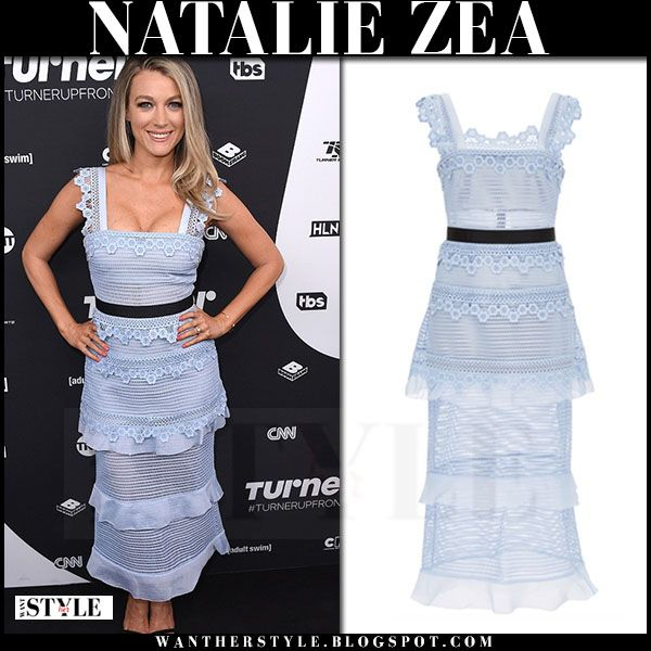 Natalie Zea In Light Blue Lace Tiered Dress In 2019 Light