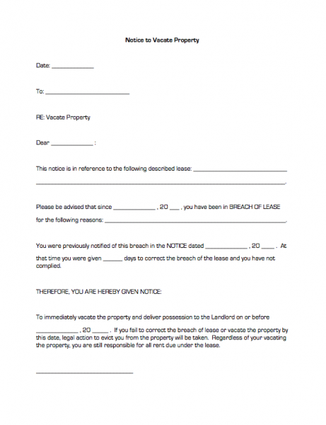 Printable Sample Vacate Notice Form Eviction Notice 30 Day Eviction Notice Real Estate Forms