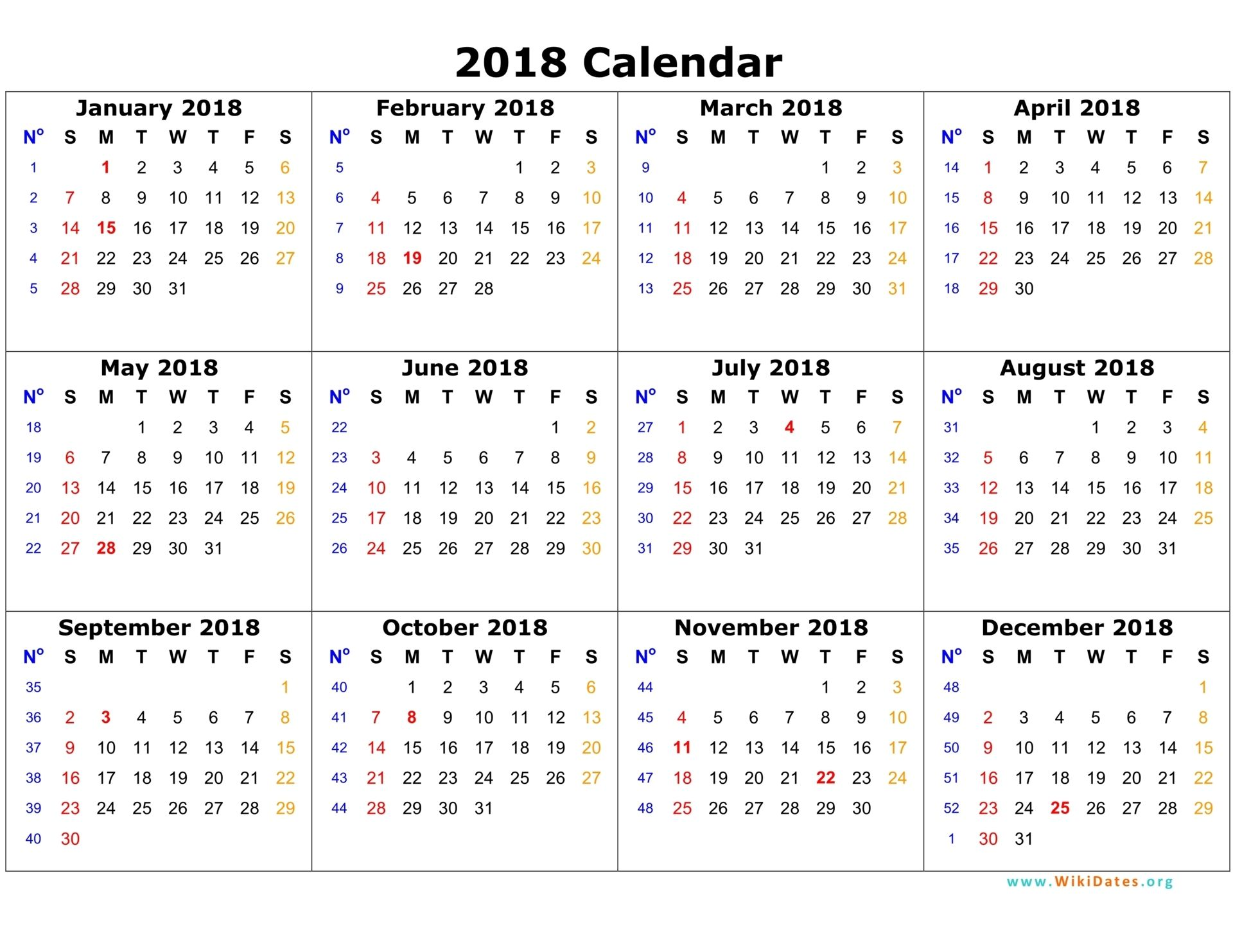 Annual Calendar 2018 Portrait Printable 2017 2019 By Yearly Weekly Template On One Page