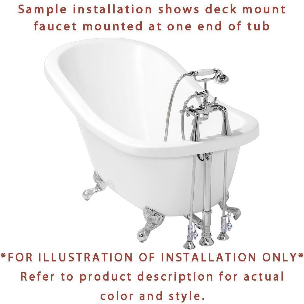 67 Cast Iron Double Slipper Clawfoot Tub And Chrome Tub Faucet