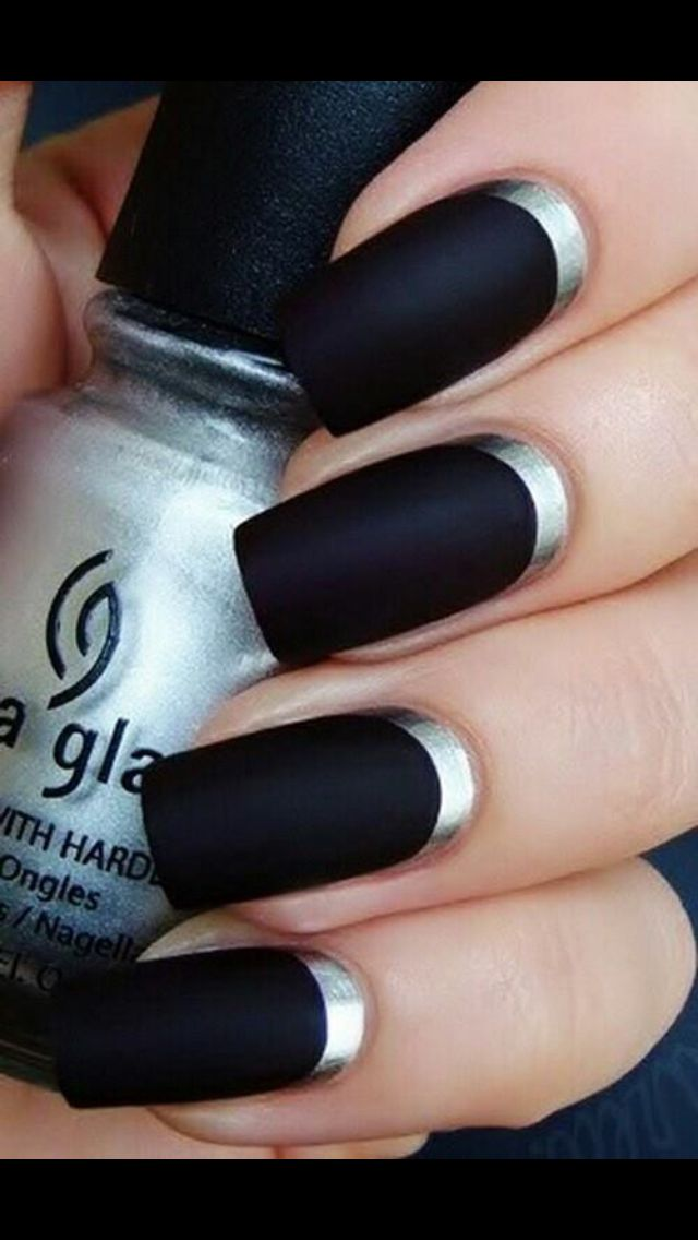 Matt Black - Silber | Нігтики | Pinterest | Manicure, Make up and Pedi