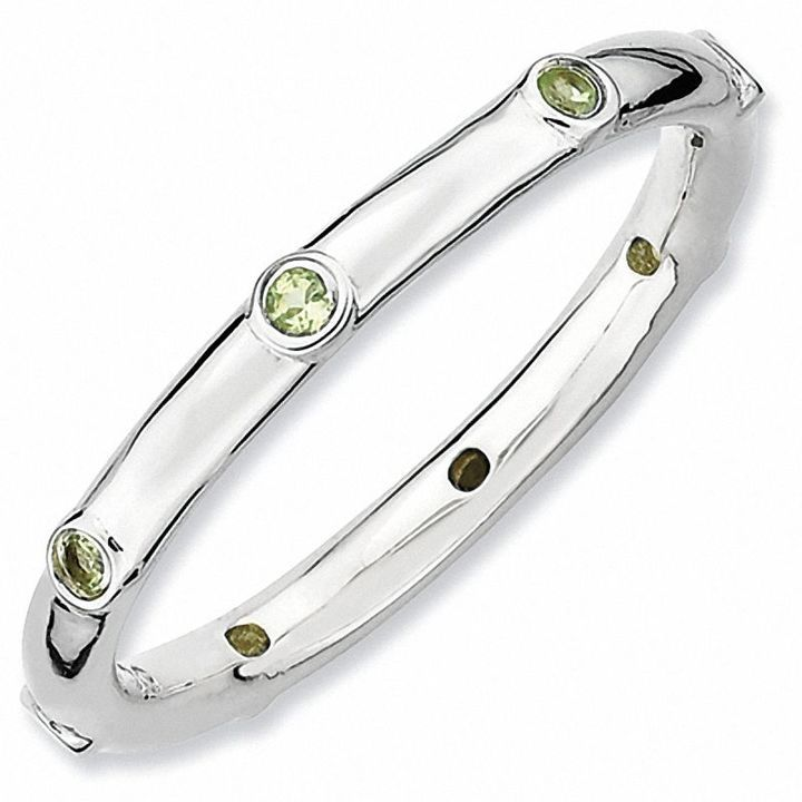 Zales Stackable Expressions Peridot Station Ring in Sterling Silver Kzl2Sj